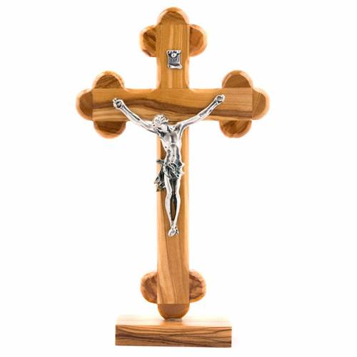 Crucifix en bois d'olivier, croix fleurs s1