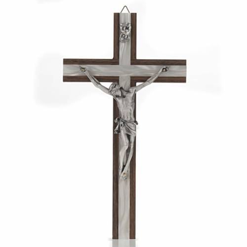 Crucifix in light wood with pearly metal insert s1