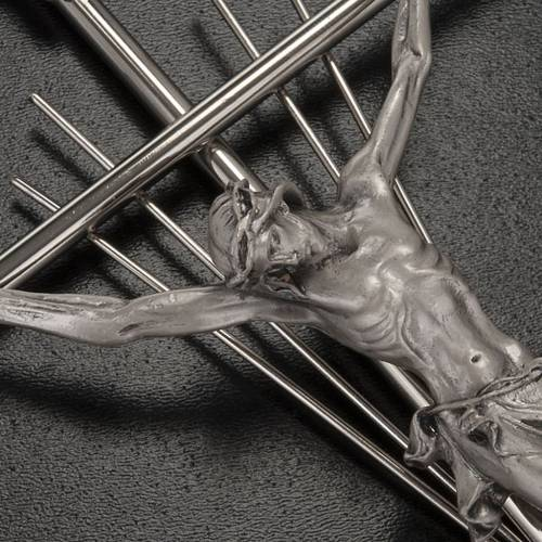 Crucifix in silver metal with rays s2