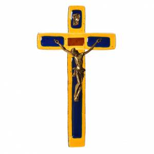 Crucifix in topaz glass with golden body s1