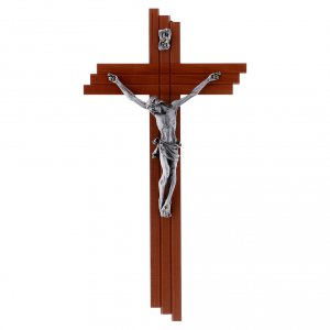 Wooden crucifixes: Crucifix modern in pear wood 25 cm with metal body