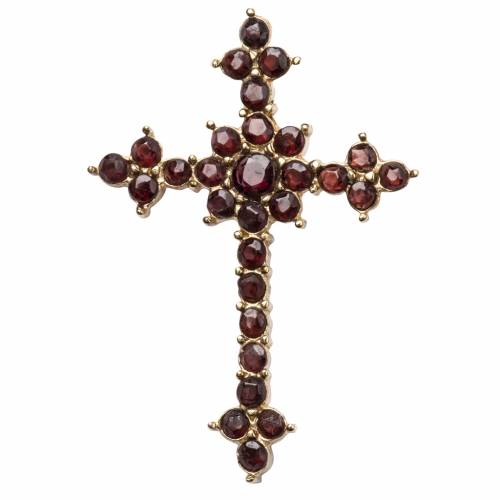 Crucifix pendentif avec grenat coupe brillant s1