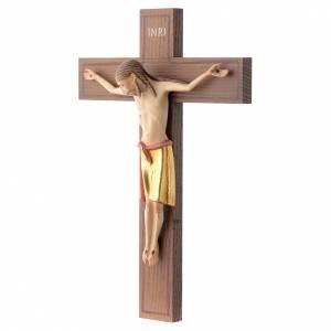 Crucifix, Romanesque style 25cm in Valgardena wood s2