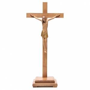 Crucifix à poser: Crucifix stylisé avec base bois Val Gardena