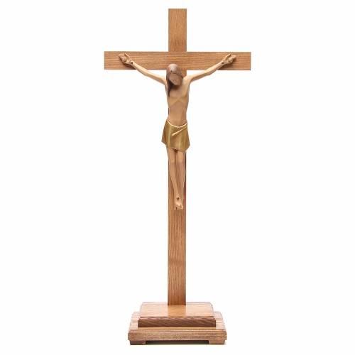 Crucifix stylisé avec base bois Val Gardena s1