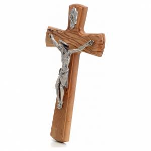 Crucifix with Christ's body in silver metal on olive wood cross 30cm s2