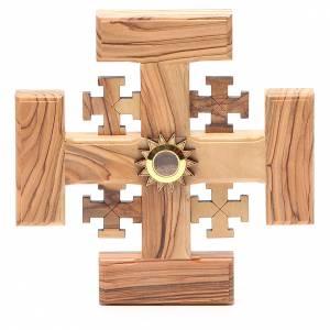 Crucifijos y cruces de madera: Cruz de Jerusalén madera de olivo y tierra de la Tierrasanta 15 cm