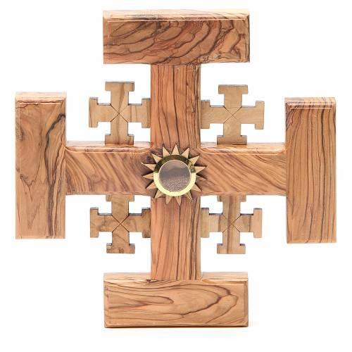Cruz de Jerusalén madera de olivo y tierra de la Tierrasanta 19 cm s1