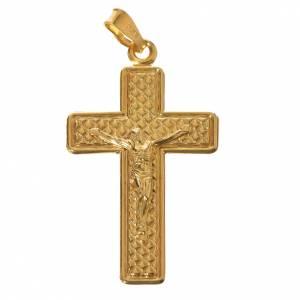 Colgantes, cruces y broches: Cruz de plata 800 dorada con cuadrados