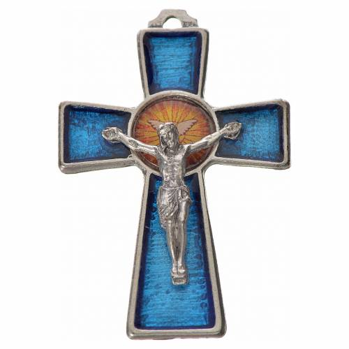 Cruz Espíritu Santo 5x3.5cm zamak y esmalte azul s1