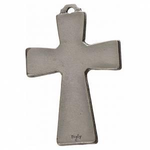 Cruces Colgantes Collares de metal: Cruz Espíritu Santo 5x3.5cm zamak y esmalte azul