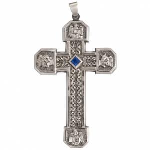 Artículos Obispales: Cruz pectoral de cobre plateado cincelada con piedra azul