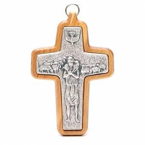 Artículos Obispales: Cruz pectoral metal madera olivo 12 x 8,5 cm