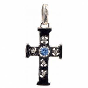 Colgantes, cruces y broches: Cruz románica con piedra en plata 925 oxidada