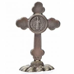 Cruces y medallas de San Benito: Cruz San Benito trilobulada de mesa zamak 5x3.5 cm. esmalte azul