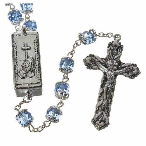 Crystal rosary 8mm with Lourdes medal s2