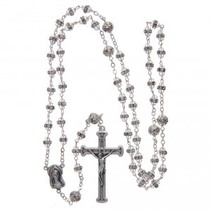 Crystal rosary in strass and steel s4