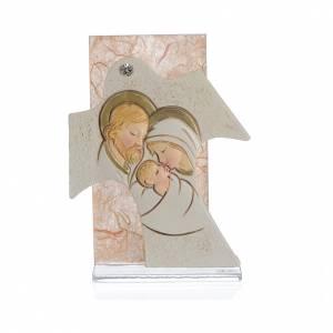 Regalos y Recuerdos: Cuadro Cruz Sagrada Familia ámbar 11,5 x 8 cm