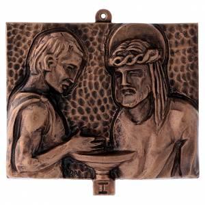 Vía Crucis: Cuadros estaciones Vía Crucis 15 piezas bronce martillado