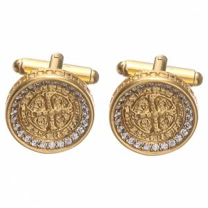 Cufflinks with St Benedict cross in 800 gold plated silver 1,7cm s1
