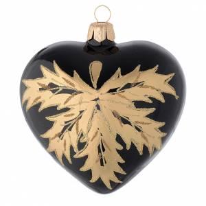 Cuore nero in vetro con foglie oro 100 mm s2