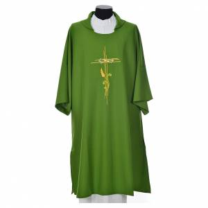 Dalmatic 100% polyester stylised cross, ear of wheat s6