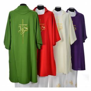 Dalmatic 100% polyester with cross and IHS symbol s2