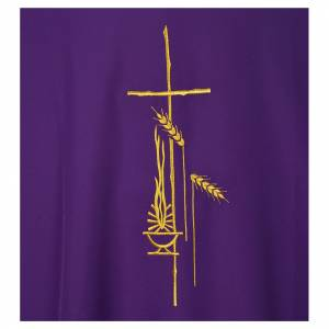 Dalmatic 100% polyester with cross, ear of wheat and flame s7