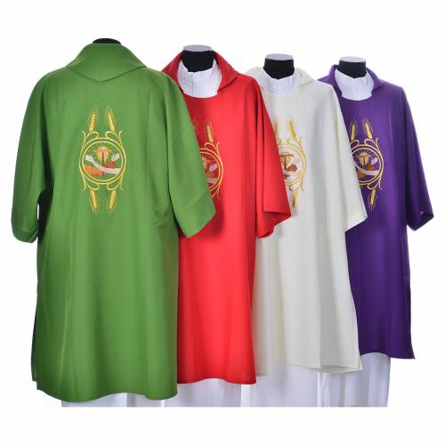 Dalmatic with the Franciscan emblem in 100% polyester s2
