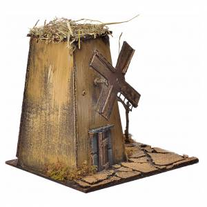Décor crèche napolitaine moulin à vent 23x17x11cm s3