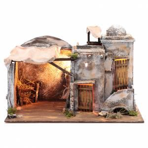 Crèche Napolitaine: Décor maison arabe et cabane 30x42,2x23 cm crèche de Naples