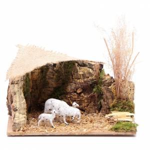 Animaux pour la crèche: Décor moutons toit jute 7x15x10 cm