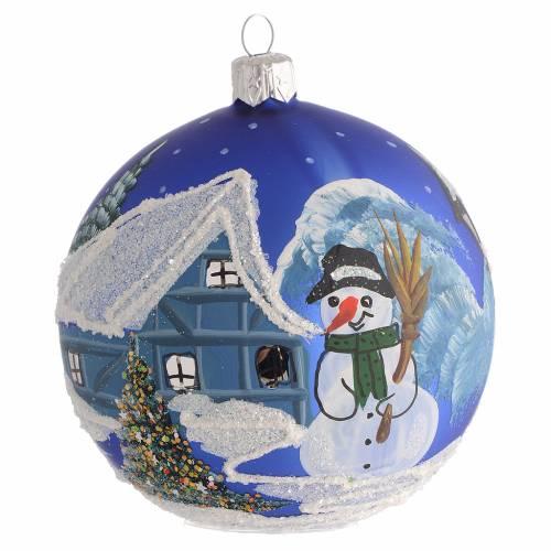 Décor Noël boule sapin bleu paysage neige 100 mm s1