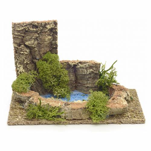 Décor petit lac pour crèche 9x14x9 cm s1