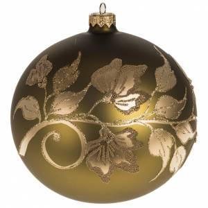 Décoration sapin dorée verre peinte 15cm s1