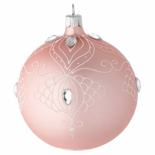 D coration sapin no l boule verre rose d cor blanc 100 mm vente en ligne sur holyart - Sapin rose et blanc ...