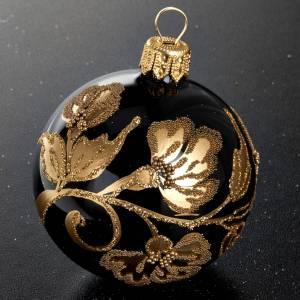 Decoro Albero Natale, palla vetro nera oro 6 cm s2