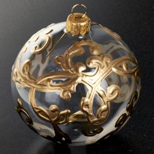 Decoro Albero Natale, palla vetro oro decori 8 cm s2