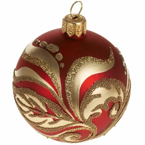 Decoro Albero Natale, palla vetro rossa oro 6 cm s1
