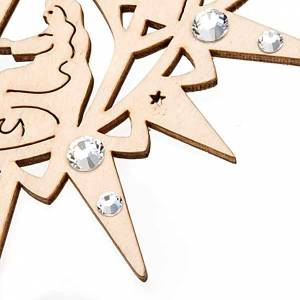 Decorazioni albero in legno e pvc: Addobbo stella intagliata presepe Swarovski trasparenti