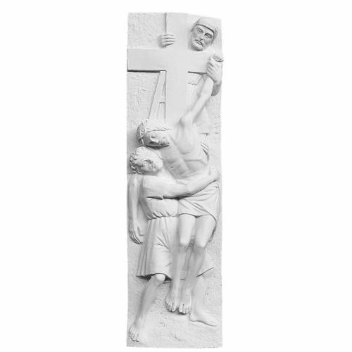 Descent From the Cross bas-relief, reconstituted marble 55x16 cm s1