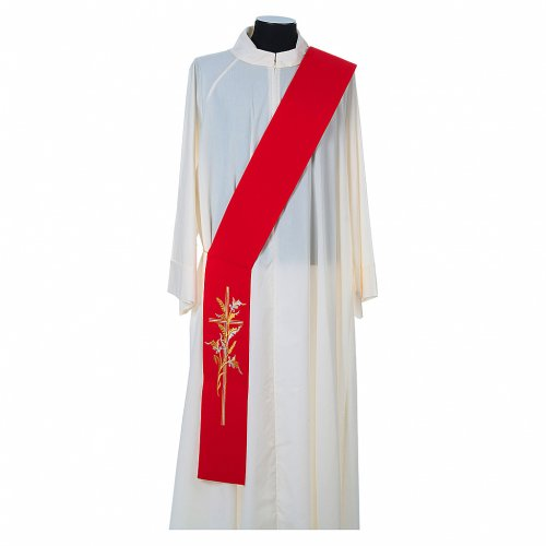 Diaconal stole in 100% polyester, cross and ears of wheat s3