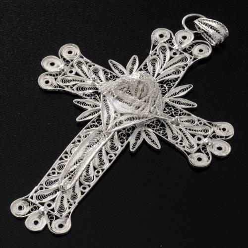 Dije de Cruz filigrana con decoraciones de plata 800, 32,9 gr 4