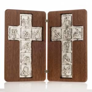 Crucifix à poser: Diptyque argent Christ ressuscité et croix chemin de croi, 14 stations