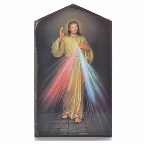 Divine Mercy shaped print on wood 15,5x9cm s1