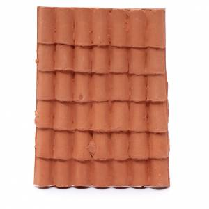 Home accessories miniatures: DIY nativity scene resin roof with terracotta decorated shingles 10x5 cm