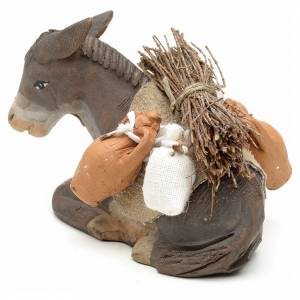 Donkey sitting down with harness for nativity scene 10 cm s3