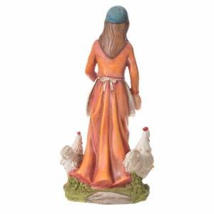 Donna con galline presepe 30 cm resina s6