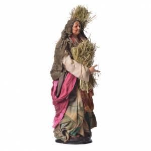 Donna con paglia 30 cm presepe napoletano s3