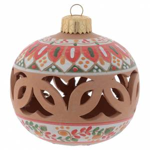 Christmas tree ornaments in wood and pvc: Drilled country terracotta Christmas bauble Deruta 80 mm